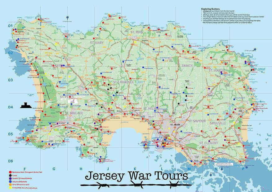 Jersey War Tours Map