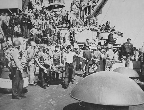 LCVP returning injured to USS Texas
