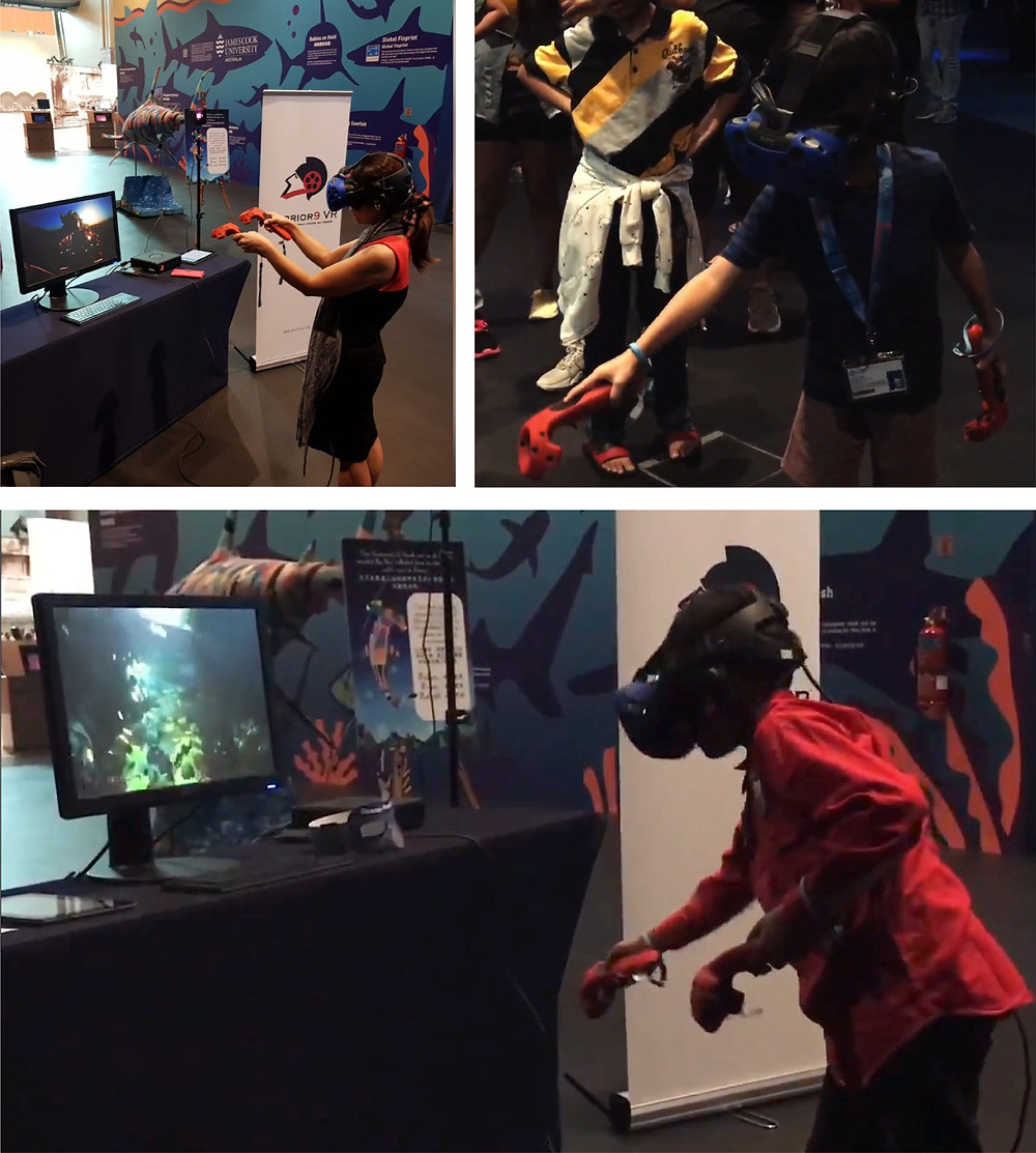 people wearing a VR headset and playing a scuba diving simulation game in immersive virtual reality
