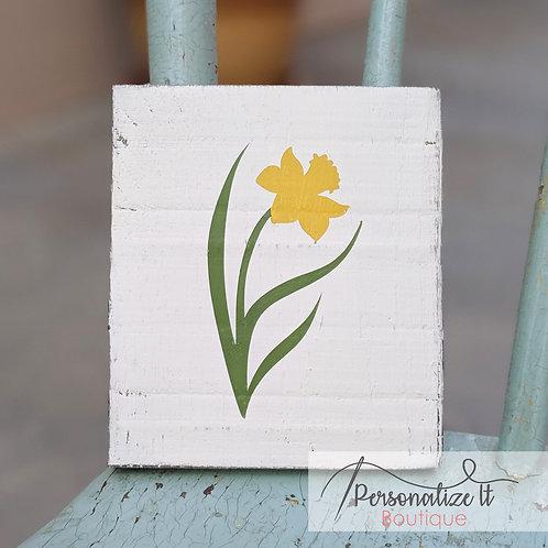 Yellow Tulip Flower Wooden Art