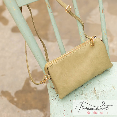 Monogrammable 3 Compartment Wristlet Crossbody