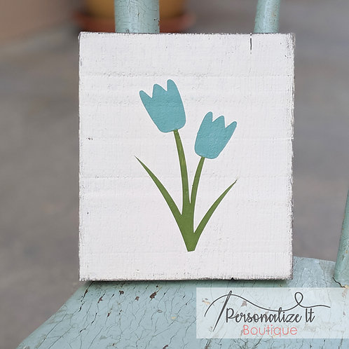 Blue Tulip Flower Wooden Art