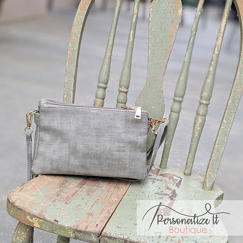 Canvas Textured Monogrammable 3 Compartment Wristlet/Crossbody
