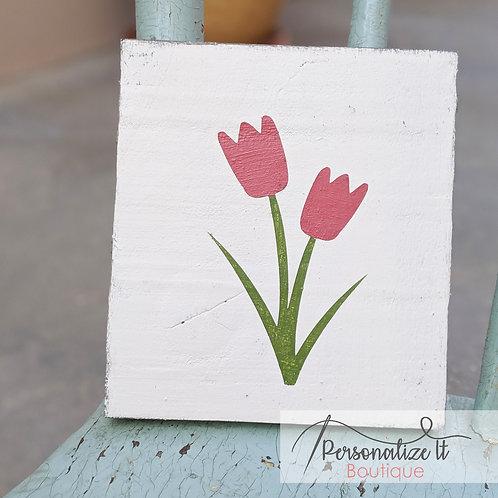 Pink Tulip Flower Wooden Art