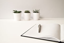 Plants, notebook and pen, for writing-related tasks.
