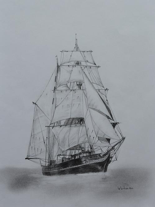 Tres hombres sail ship, original drawing
