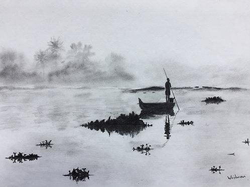 Fishing in Asia, original drawing