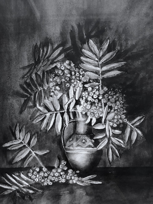 Rowan in a vase, original painting