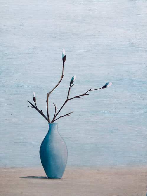 Blue vase, original oil painting
