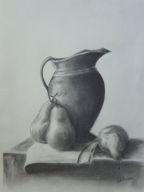 Pitcher and pears, original drawing