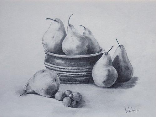 Pears and grapes, original drawing