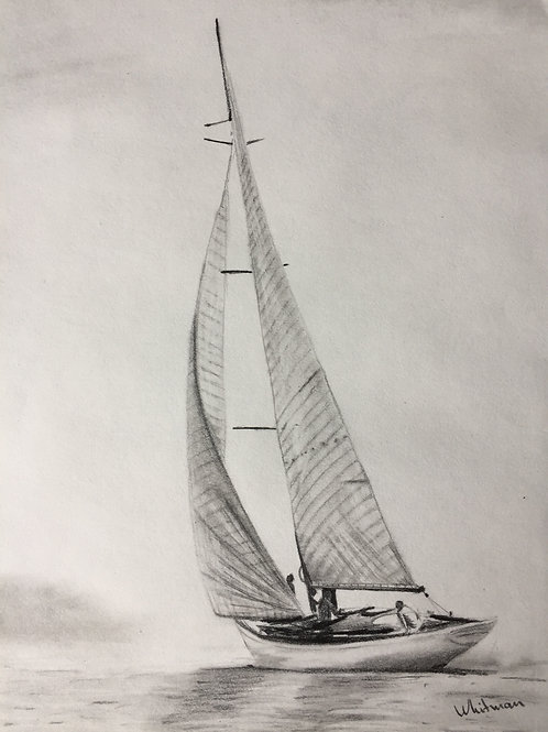 Sailing yacht, original drawing