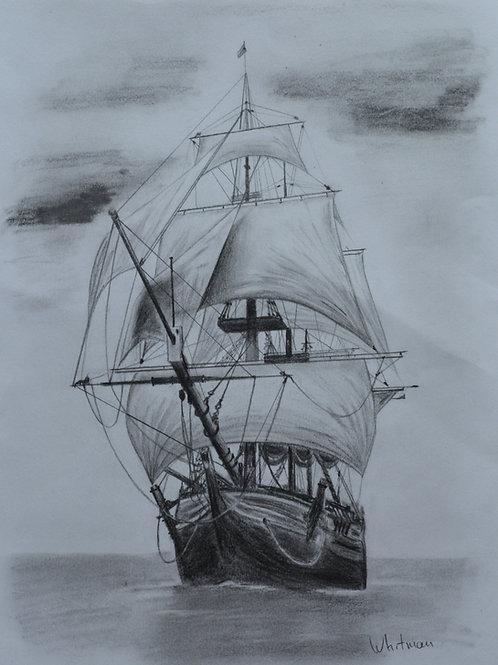 Old sail ship, original drawing