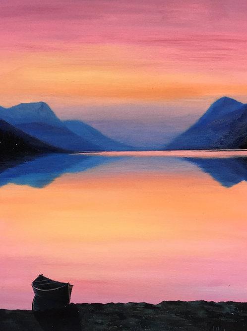 Pink sunset, original oil painting