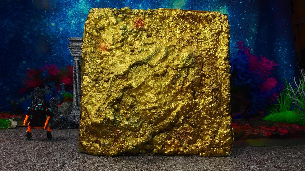 No 037 黄金へ板琉03 25cm X25cm ディスプレイ・台座・ジオラマ・模型・インテリア・フィギュア・プラモデル・ハンドメイド〔才も不才も〕
