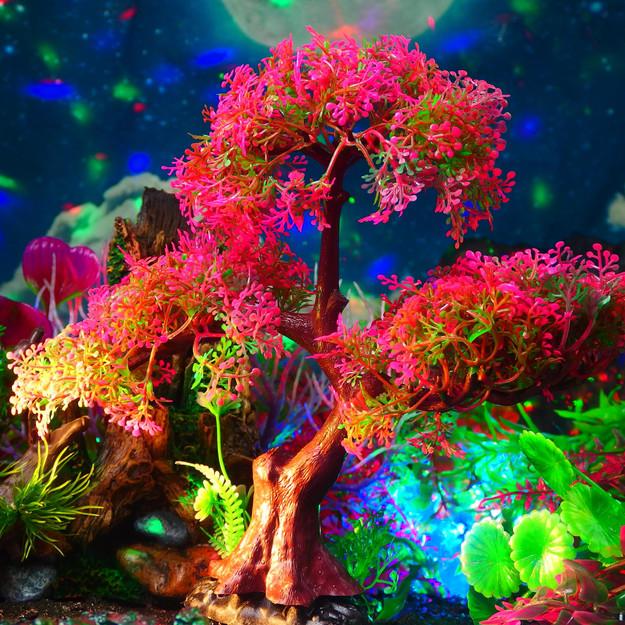 木セット (ピンク)24cm〔小茂みx2 ピンクの草x1 大茂みx1〕