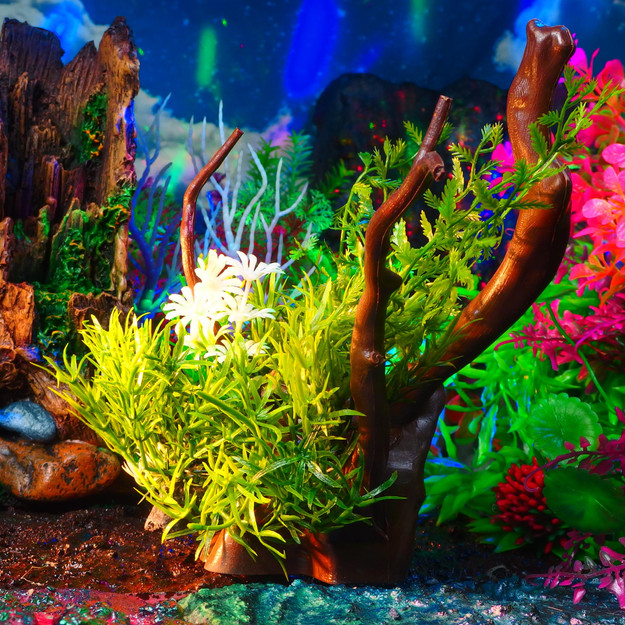 流木水草セット (A-セット)18~20cm 〔小茂み(緑)x2 小茂み(紫)x1 大茂みx1 流木x1〕