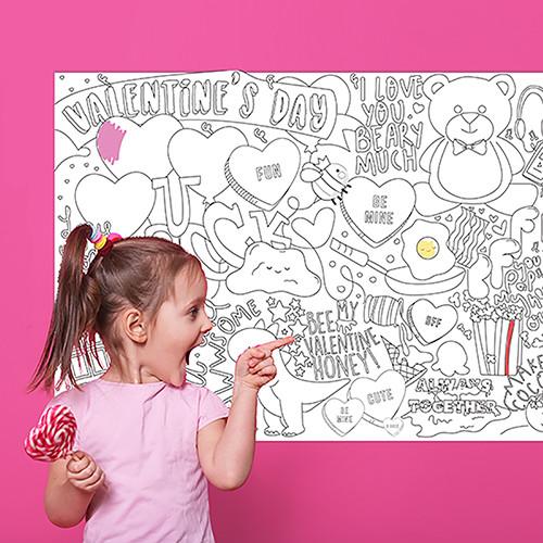 Valentine's giant poster para colorear