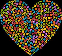 Cœur empli de lettres