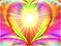 Coeur multicolore rayonnant