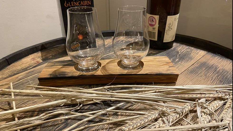 Twin whisky glass flight tray with clear glass