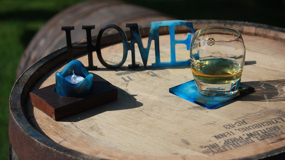 Single Whisky stave tealight holder with resin candle holdee