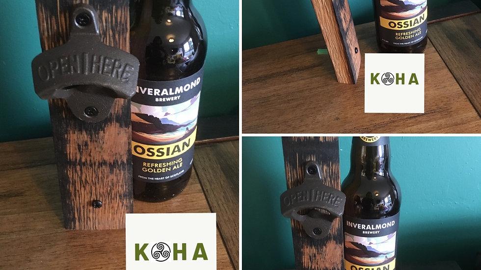 Scottish whisky stave wall hanging bottle opener