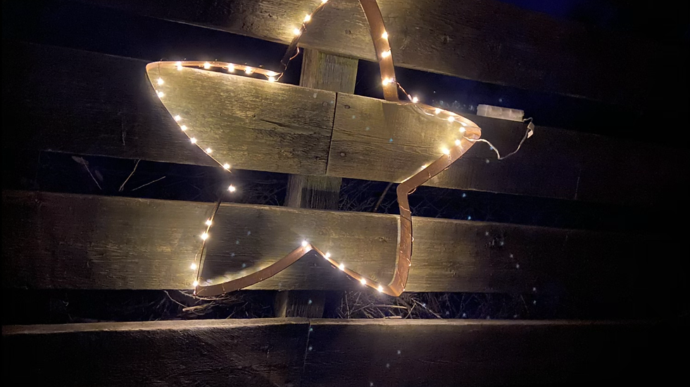 Star shaped Whisky barrel hoop with outdoor lights