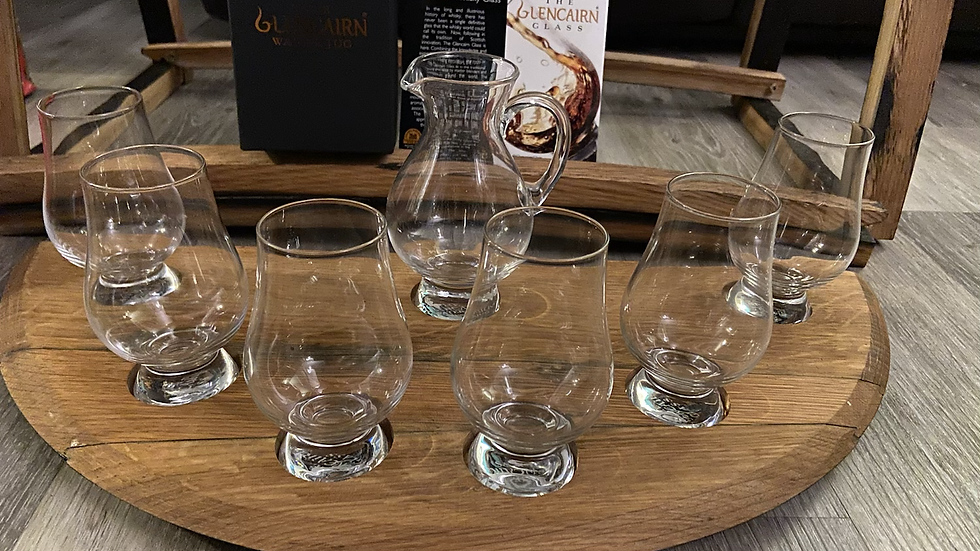 Half barrel top tasting tray with 6 glencairn whisky glasses and 1 water jug