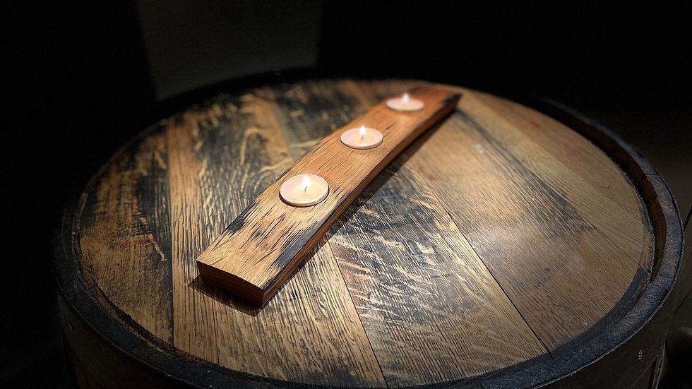 Whisky stave tealight holder