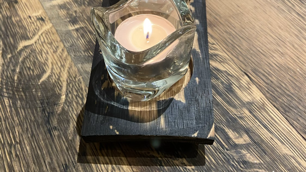 Twin round glass whisky stave tealight holder