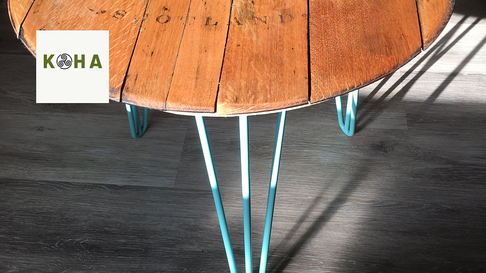 Loch Fyne barrel end coffee table with duck egg blue hairpin legs
