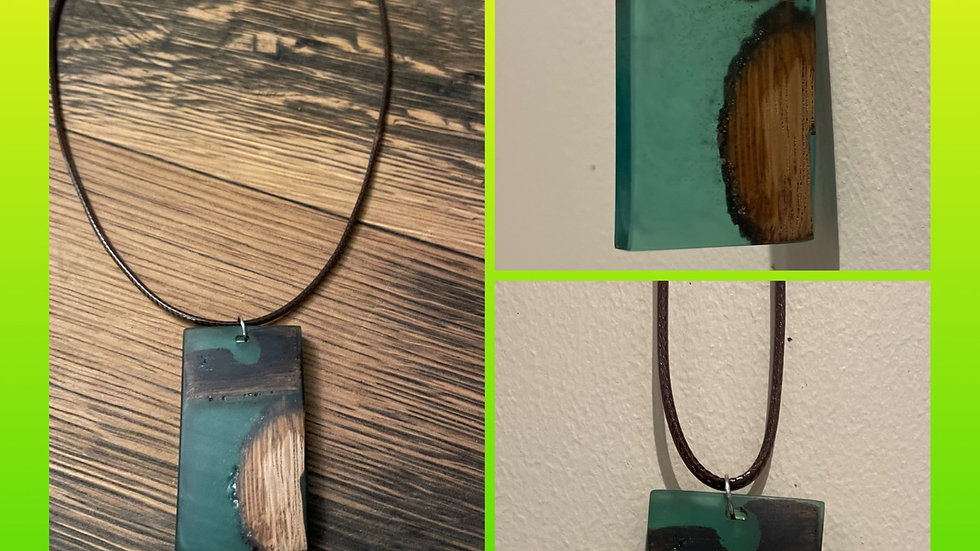 Green whisky barrel necklace