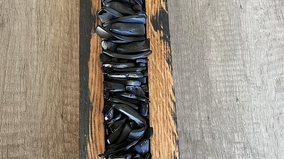 Black decorative glass wall hanging