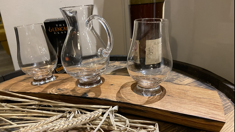 Whisky flight tray with two cairnglass whisky glasses and water jug