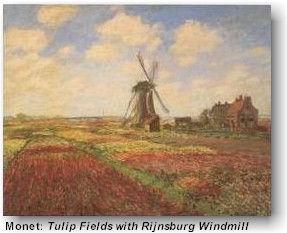 Christian travel art tours Monet: Tulip Fields with Rijnsburg Windmill