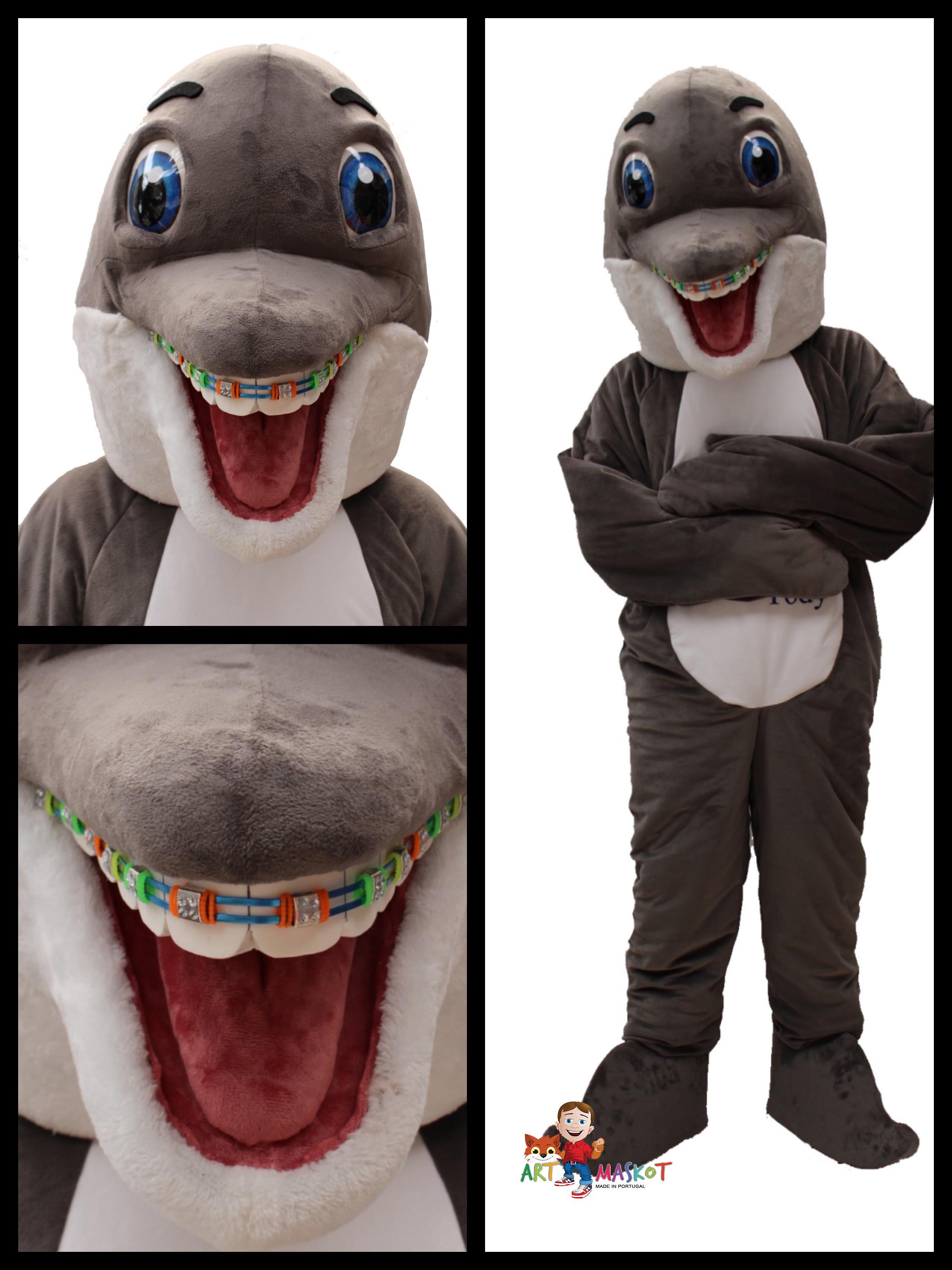 Mascote Partyval golfinho detalhes