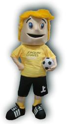 Mascote Partyval menino jogador de rugby