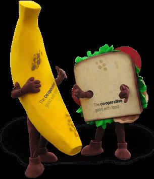 mascote Banana e sandwich