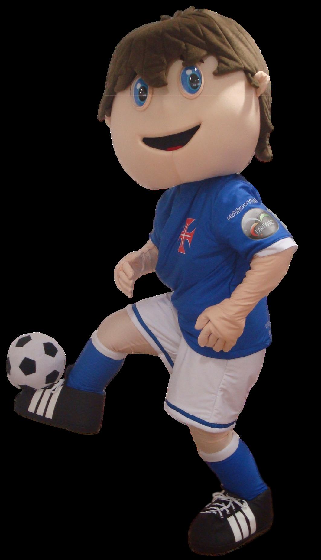 Mascote Partyval Menino jogador de Futebol Pepe