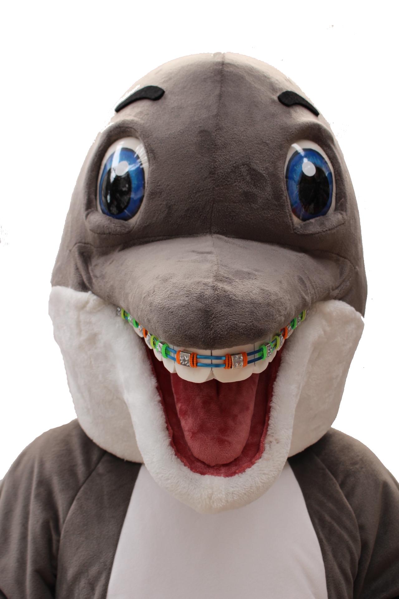 Mascote Partyval golfinho detalhe
