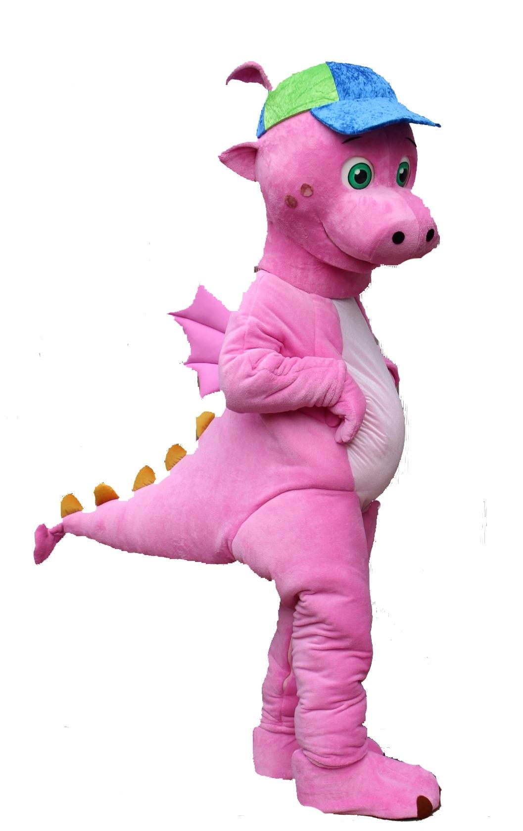 Mascote_Partyval_dragão_rosa_leya