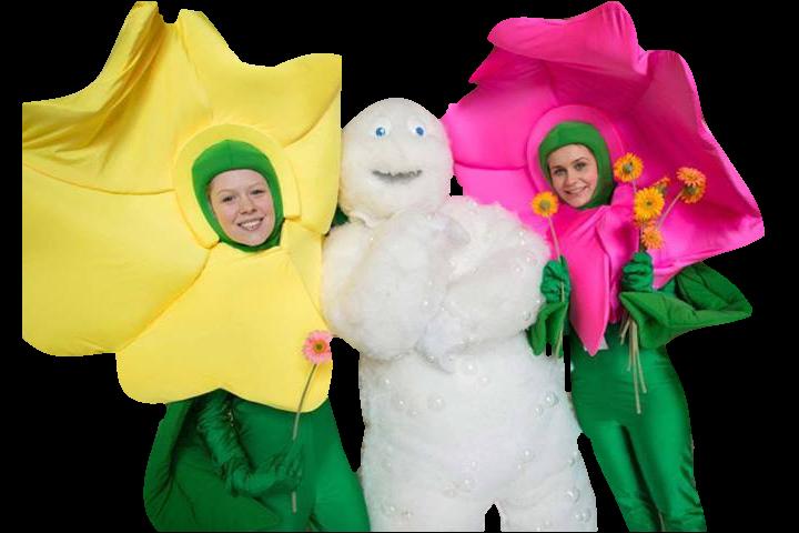 Mascotes Flores e Boneco Espuma