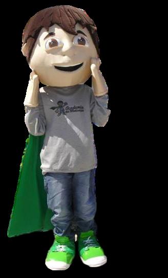 Mascote Partyval Menino Heroi Super motivador