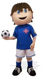 Mascote Partyval menino jogador de futeb