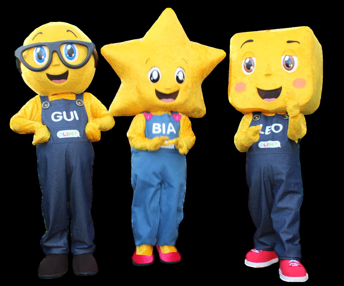 Mascote Partyval Formas Bia, Leo e Gui