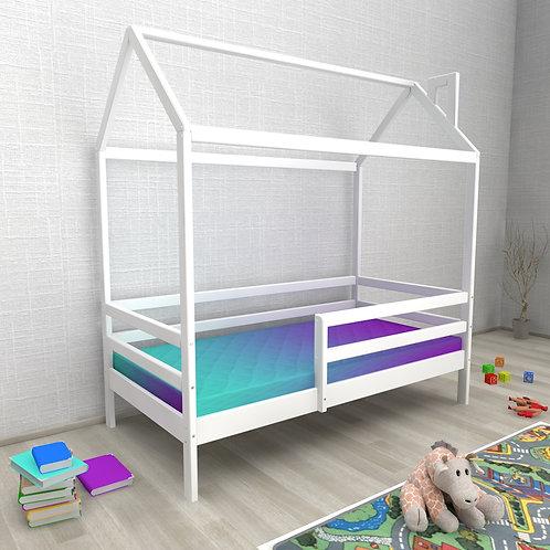 Кровать ДОМИК Авеньён (с бортиком) Цвет:БЕЛЫЙ