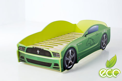 Кровать-машина Мустанг LIGHT МебеЛев (цвет Зеленый)