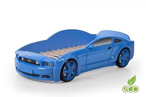 Кровать-машина Мустанг 3D LIGHT МебеЛев (цвет Синий)