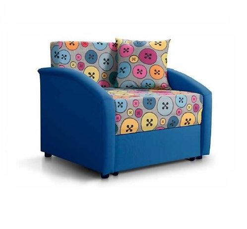 Ф-ка Мирлачева недорогой диван в детскую Даня (принт пуговки бирюза)